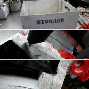 DIY mise en place du sac de protection dans la caisse en bois